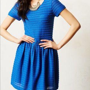 Anthropologie blue speckled short sleeve dress